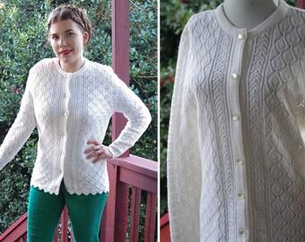 BIANCA 1960's Vintage White Soft Acrylic Eyelet Knit Cardigan Sweater // size Small Medium 34 36