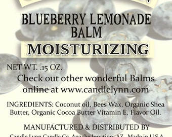 Blueberry Lemonade  Lip Balm by Candle Lynn - Made with Organic Shea and Cocoa Butters