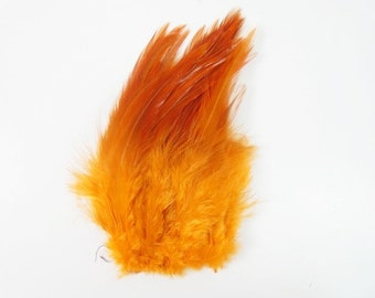 25 Orange Feathers Beautiful Rooster Feathers Craft Rooster Feathers Unique Feathers Wedding Feathers Hat Embellishment