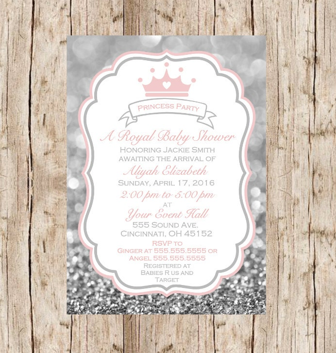 Princess baby shower invitation Printable girl baby shower