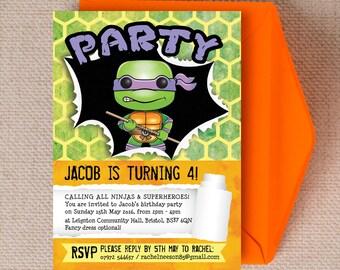 Turtle Superhero TMNT Kids Party Invitation Cards