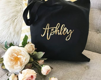 Custom Tote Bags - Personalized Tote Bags for Bridesmaid Tote Bag Canvas Tote Maid of Honor Tote Bag Wedding Tote Bag (EB3216CT)