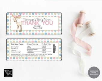 Woodland Girl Baby Shower Candy Bar Wrap