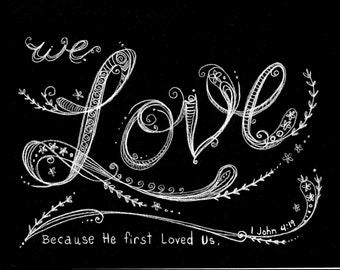 Instant Download Chalk Art Digital Christian Home Decor Love