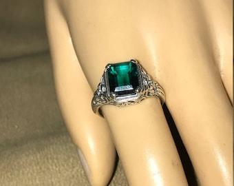 Vintage Sterling Silver 3CT Emerald Quartz  Filigree Ring size 7