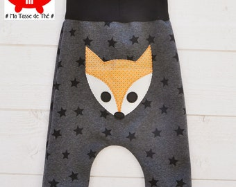 Red baby Fox harem pants, stars, comfortable, fun and playful
