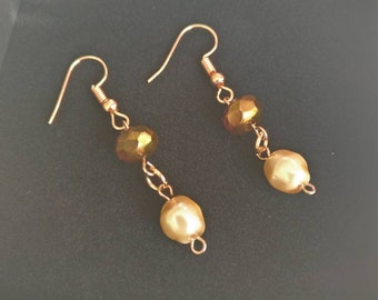 Rose Gold Plated and Pearl Earrings