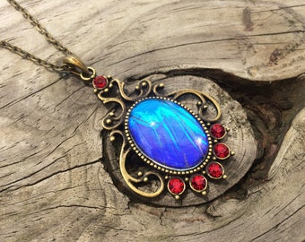 Real Blue Morpho Butterfly wing necklace Garnet January birthstone Vintage 1920s Style pendant Statement Necklace sapphire blue red crystal