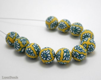 Polymer Clay Round beads 14mm (10) Yellow with Blue Flower last