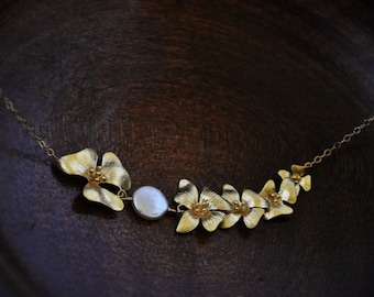 Asymmetrical Gold Dogwood Necklace/ Flower Necklace/ Feminine Necklace/ Gold Necklace/ Gold Pearl Necklace/ Pretty Necklace