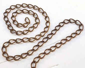 SALE 6ft Brass Curb Chain 6mm x 11mm, Antiqued Solid Brass Curb Chain 16g Large Link, Chunky Chain, Oxidized