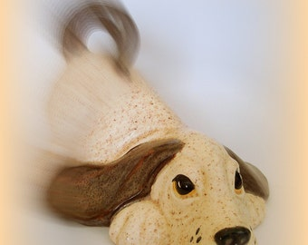 Spotted Spaniel Statuette Figurine Vintage Lying Down Reclining Spaniel Large Size Brown & Cream Spotted  Ceramic