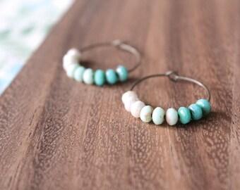 white aqua mint ombre czech glass hoop earrings