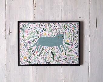 A4 Cat with flowers Print - Cat illustration - Cat Print - I like Cats - Cats - Cat illustration - Cat art - Wall art - art - floral art