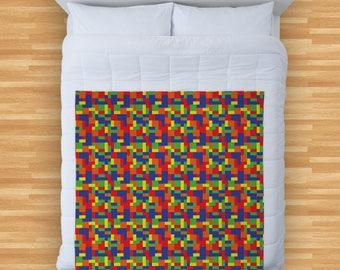 Colourful Buiding Bricks Design Soft Fleece Blanket Cover Throw Over Sofa Bed Blanket