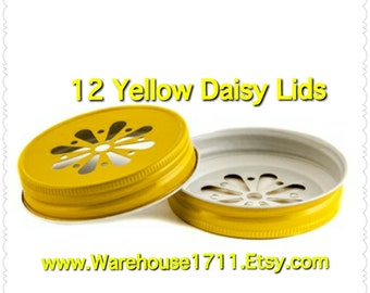 Mason Jar Lids ~ 12 ~ Daisy Lids ~ (Yellow)/Party Jar Lids/Wedding Jar Lids/Anniversary Jar Lids