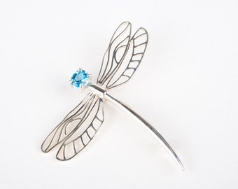 Sterling silver dragonfly brooch.