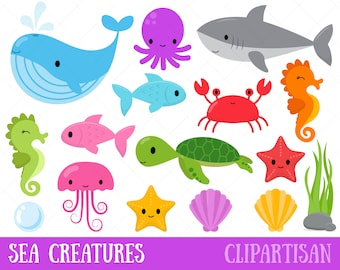 Sea Creatures Clipart | Under the Sea Clip Art | Whale | Shark | Turtle | Crab | Seahorse | Octopus | Jellyfish