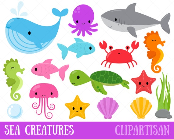 sea creatures clipart under the sea clip art whale shark rh etsystudio com sea creature clipart black and white cute sea creature clipart