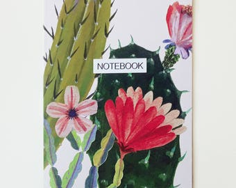 A5 recycled notebook- RED flower