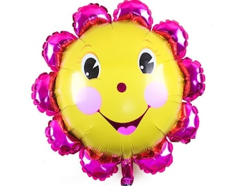 Happy Flower Balloon, Flower Balloon, Flower Birthday Party, Summer Party Balloon, You Are My Sunshine Party Theme, Smiley Sun Balloon