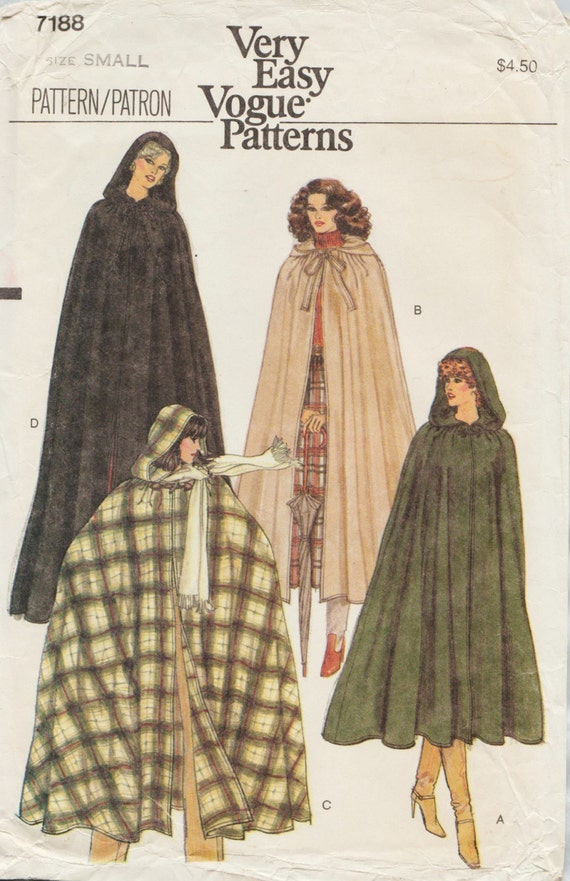 Very Easy Vogue 7188 / Vintage Sewing Pattern / Cape Cloak Wrap With ...