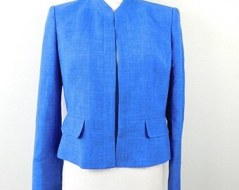 30% SUMMER SALE Vintage Evan Picone 1990 90s Electric Blue Fitted Open Front Lightweight Collarless Long Sleeve Blazer Jacket Sz 4 Small