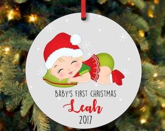 Baby's Girl First Christmas Ornament, Personalized Christmas Ornament, Custom Ornament, Blonde Baby Girl Christmas Ornament (0085)