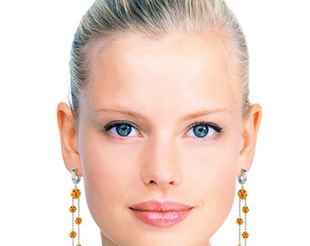 Gold CHANDELIERS Earrings WITH CITRINES Yellow Gold Rose gold White Gold Stunning Earrings with Citrines