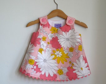 Pink Floral Baby Dress, Girls Dress, Girls Sundress, Baby Shower Gift, Girls Pinafore, New Baby Gift, Girls Outfit, Size 3-6 Months