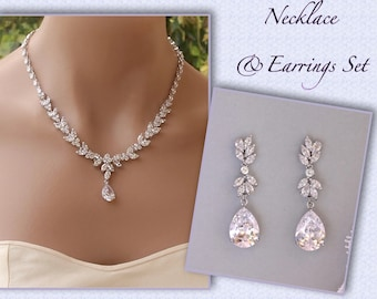 Bridal Jewelry Set, Crystal Necklace & Earring Set, Crystal Jewelry Set, Wedding Jewelry Set, DENISE/