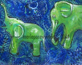 Two Jade Elephants -ACEO  Open edition reproduction by Maria Pace-Wynters