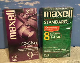 Maxell blank VHS tapes sealed unused T-180 9hr and T-160 8hr for VCR recording Vintage