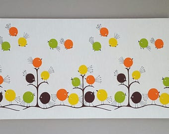 """Awesome Mid Century Vintage 70s retro stretched fabric framed art wall hanging-Flock O' Fun """"Tweet Tweet"""""""