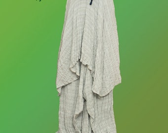 Wide pants with skirt - unique white cotton fabric hippie bohemian alternative clothing goa trance psytrance celtic fantasy festival