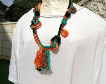 Tribal statement necklace, Wrapped necklace, Strand tribal necklace, Colorful layered necklace, Ethnicity rope necklace, Colorful necklace