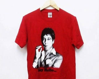 Hot Sale!!! Rare SCARFACE 'SAY HELLO' Gangster Movie T-Shirt Hip Hop Skate Swag Small Size