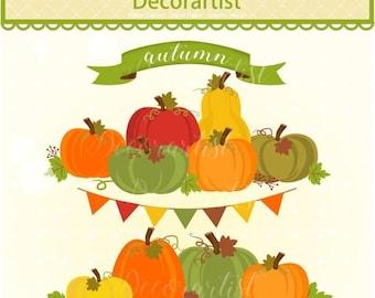 ON SALE Pumpkins clipart, autumn clipart, fall clipart, thanksgiving clipart, printable, scrapbooking