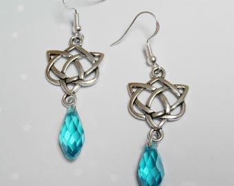 Celtic earrings and Crystal drops