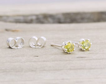 Citrine Tiny Stud Earrings November Birthstone Dainty Earrings Yellow Citrine Stud Earrings November Birthday Gift Birthstone Jewelry
