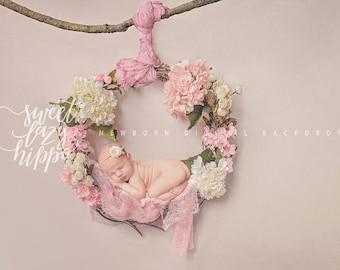 Newborn Digital Background. Newborn hanging backdrop. Wreath of flowers. Digital backdrop for girl. Instant download JPG file