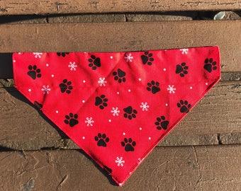 Red Pawprint Christmas Over the Collar Bandana