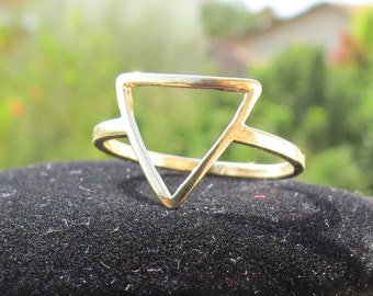 Gold Triangle Ring, Triangle Ring, Geometry Ring, Simple Ring, Women Gift, Stacking Ring, Dainty Gold Ring, Geometry Jewelry, vintage.
