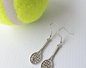Tennis earrings - silver plated tennis racket earrings