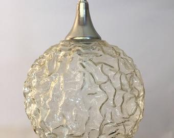 1970s Volcanic Glass Globe Pendant Light Fixture