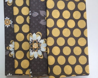Flowers and Dots on Brown/Gray DOUBLE SIDED Cloth Napkins set of 6