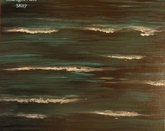 """Ocean Night Painting on Canvas, teal and black, 11 x 14, """"Midnight Flats"""", SK07 FREE SHIPPING"""