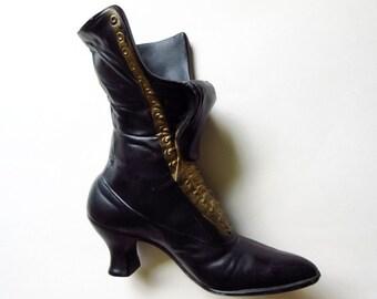 """Victorian Boot Vase 9 1/2"""" Vintage Cast Aluminum Lace Up Shoe"""