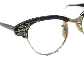 Vintage Womens 50s Horn Rim Cat Eye Glasses Eyewear Frame With Accents