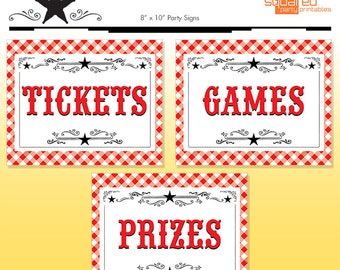 County Fair Party Signs - Summer BBQ Birthday Party - DIY Print - Summer Birthday - Tickets - Games - Prizes - Instant Download